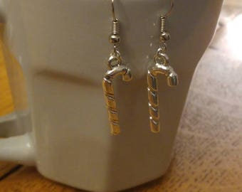 Earrings with candy cane charm
