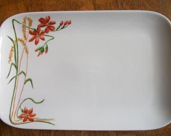 rectangular art nouveau pattern dessert plate handpainted on porcelain, handmade