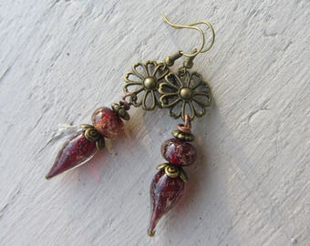 Earrings drop dangle charm spun glass red burgundy glittery gold and bronze metal flower