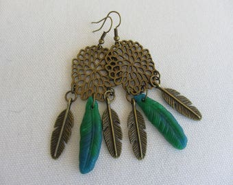 dangling dream catcher stylized bronze metal and blue polymer clay feathers / green, Native American