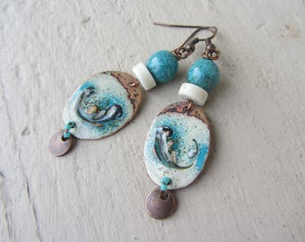Earrings ethnic enameled copper oval charms, miyuki beads, rondelle stone and ceramic bead, turquoise blue and ecru