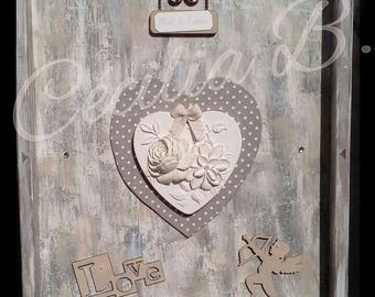 Romantic shabby chic look antiqued heart plaster
