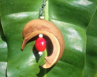 Earrings stainless steel hourglass, coconut and caconnier