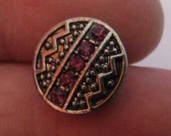 snap 12mm pink rhinestone metal