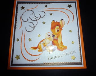 "embroidered happy new year card ""bambi and pan pan"""