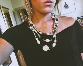 Black & White Stone Cross Necklace