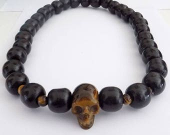 Necklace skull beads Tiger eye and black wooden beads