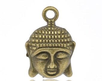 2 brass 22mm x 15mm Buddha head charms