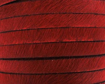 20 cm Strip 5 mm flat leather red haired