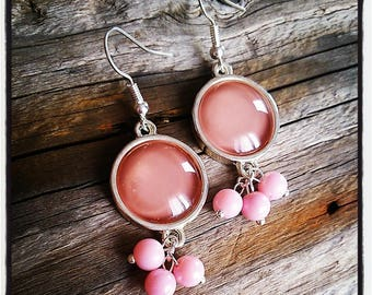 Earrings dangle silver rose cabochon