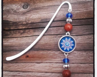 Silver charm bookmark Brown/Blue beads and cabochon
