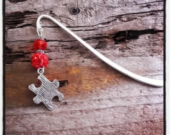 Silver charm bookmark red puzzle