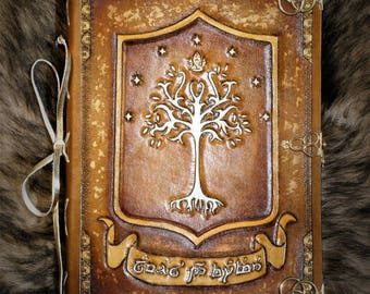 """Fantasy LOTR elvish """"Always and for ever"""" wedding carved leather booknote guestbook"""