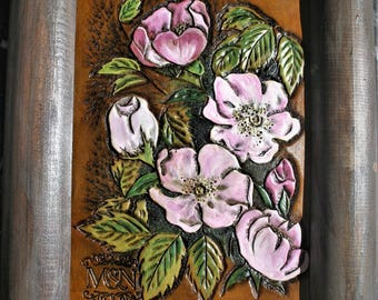 Decorative Panel table tooled leather flowers wild nature elderberry