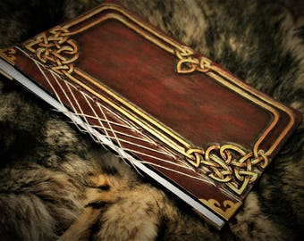 Book in Japanese binding sketchbook journal tooled leather Fantasy drawing Celtic Fairy dark red and gold