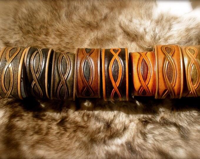 Entrelac choice tooled leather bracelet
