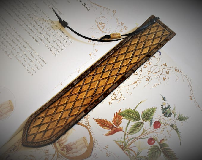 Bookmark leather bookmark embossed renaissance medieval fantasy gift reading
