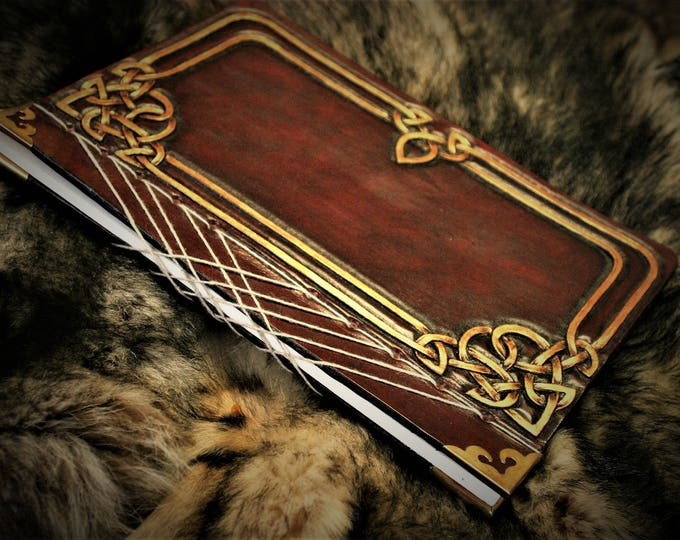 Book in Japanese binding Grimoire book diary tooled leather Fantasy drawing Celtic Fairy dark red and gold
