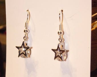 CHARM EARRINGS SILVER STAR AND CUBIC ZIRCONIA