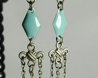 chain earrings bronze sequin seagreen
