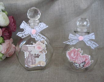 Free shipping! two shabby style glass flasks