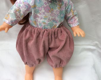 Old corduroy bloomers pink doll 36 cm