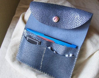 Blue bright Handmade Leather tobacco pouch