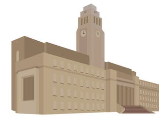 Minimalist Flat Leeds University Illustration