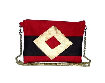 Pouch, red and Black Suede shoulder bag, graphic line gold