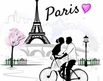 Coupon Polycoton T15 - L'Amour à Paris