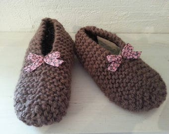 Slippers girls 100% wool liberty T 33-35 enhanced chocolate brown with a bow