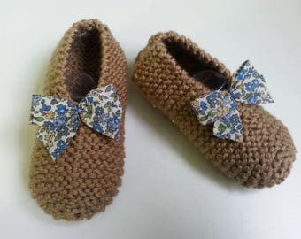 Slippers girls slip T 26-30 chamois enhanced with a liberty bow