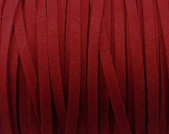 1 meter wide 5 mm carmine red suede cord