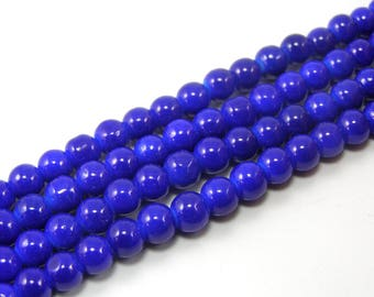 Set of 20 6 mm glass beads bright blue M