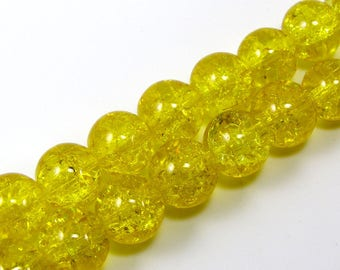 Set of 10 beads 10 mm crackled glass honey