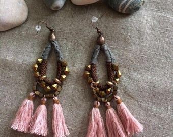 long dangle earrings with tassels old pink