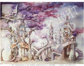 A fantastic, architectural and surreal watercolor landscape painting