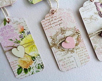 Set of 6 shabby extra strong printed paper labels