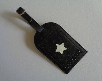 Faux ostrich leather luggage tag