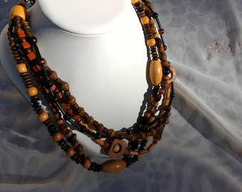 Shades of Brown wood beads necklace