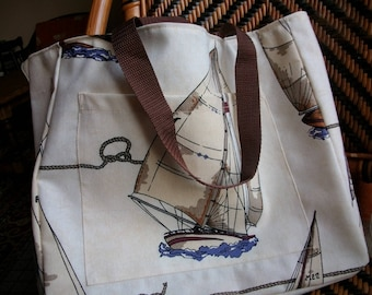 Tote bag Navy spirit beige and boat sails
