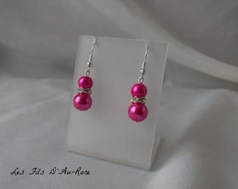"Earrings ""Blue"" with fuchsia pearl beads"