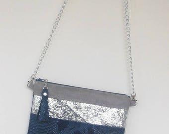 Dragon blue glitter bag silver, Pearl gray