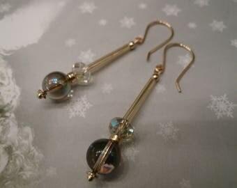 Gold earrings ~ Bohemia ~ Gemstone pearls crystal of Swarovski