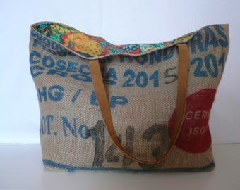 Tote bag // beach bag // burlap coffee bag purses  // recycled coffee bag // gifts for her