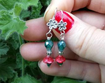 Red Pearl Flower Earrings