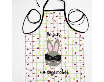 """Child apron in cotton - rabbit """"I'm super Chief"""""""