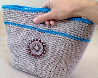 Beige and blue hand crocheted bag