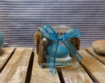 Small Driftwood tealight and Turquoise sand shells pine bark