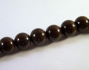 10 12 mm Brown striped PV37 black glass beads